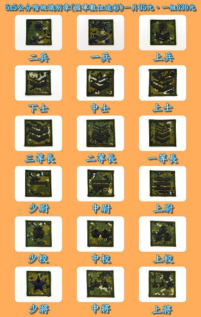 5x5公分階級識別章(國軍數位迷彩) 一片35元。一組630元