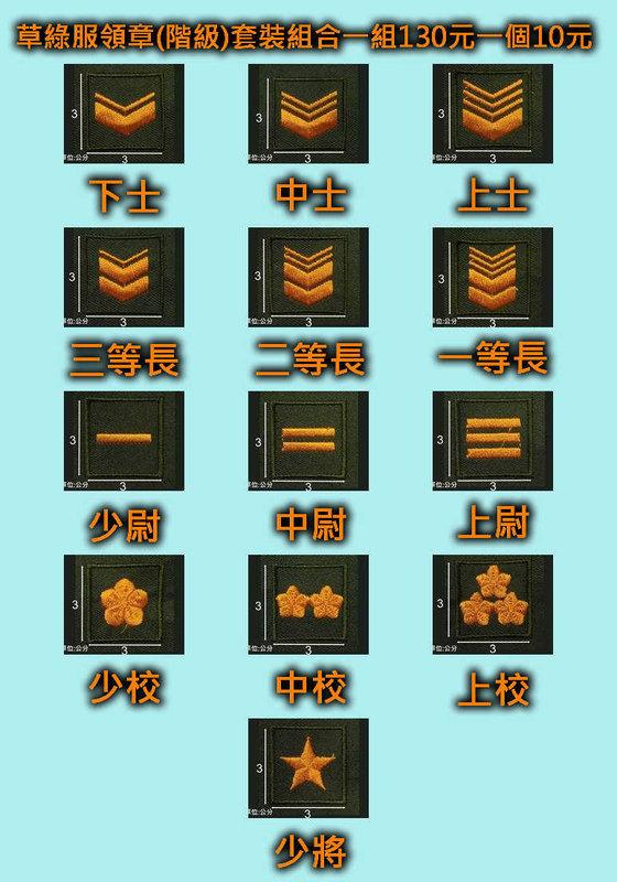 ★☆草綠服領章(階級)套裝組合一組130元一個10元