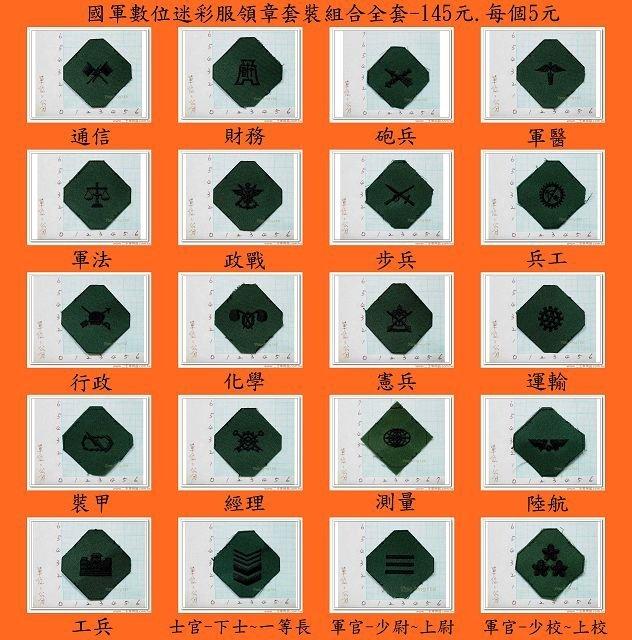 ★☆新式布領章-軍用領章-國軍數位迷彩服領章套裝組合全套-145元.每個5元