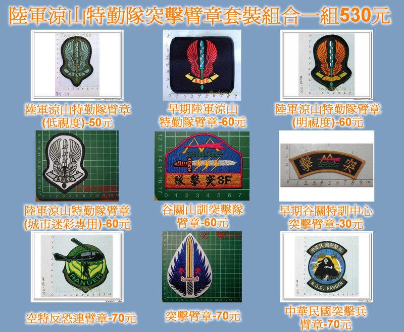 ★☆陸軍涼山特勤隊突擊臂章套裝組合一組530元