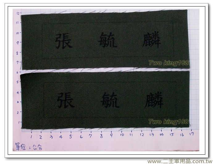 國軍數位迷彩服名條-新式綠布名條-姓名名條-一式兩片60元(不含氈)