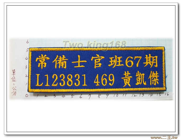 二王5x15.5公分-客製電繡名牌.職務名 牌.軍用名牌.兵籍名條.可繡中文.英文.數字.有紅.黃.白.藍.黑.綠.顏色
