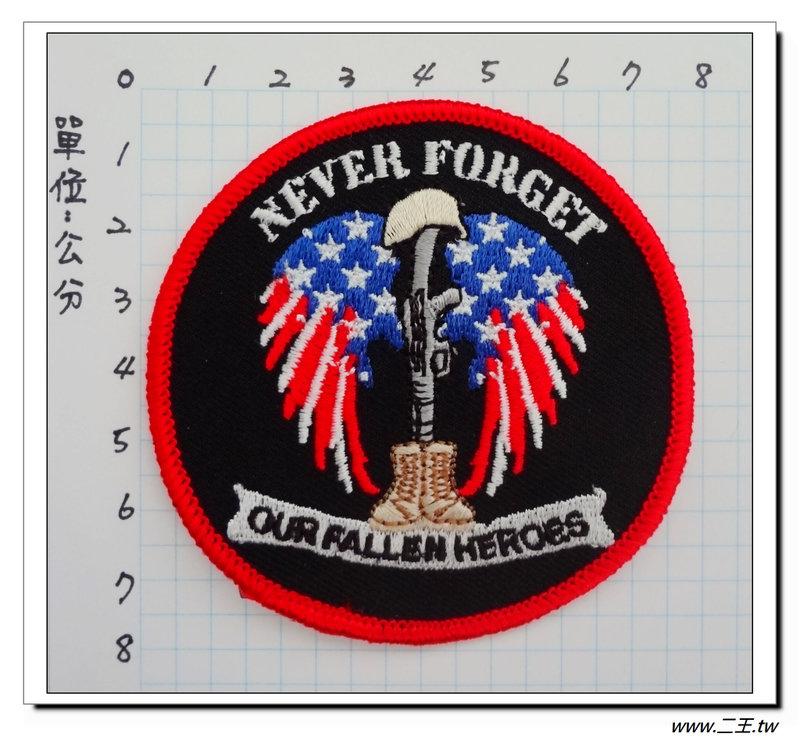 ★★美國臂章☆美國陸軍-美國退伍軍人協會-我們不能忘記的陣亡英雄-70元-國外529