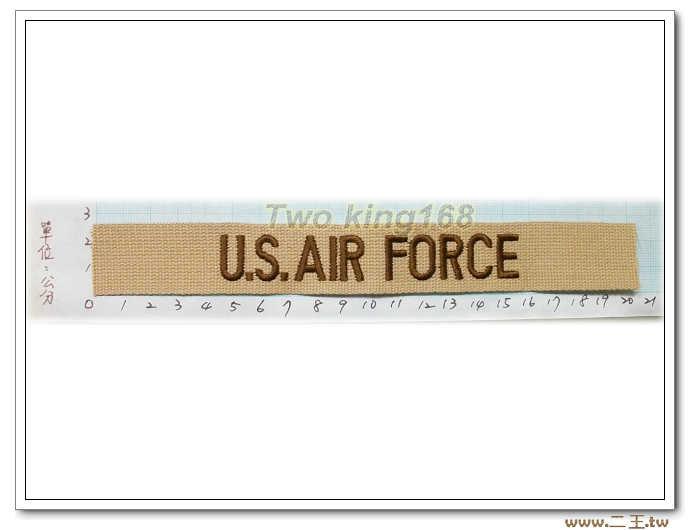 ☆11-17-3美國空軍名條沙色版-美軍名條 沙漠迷彩 迷彩服 早期 低視度 野戰服