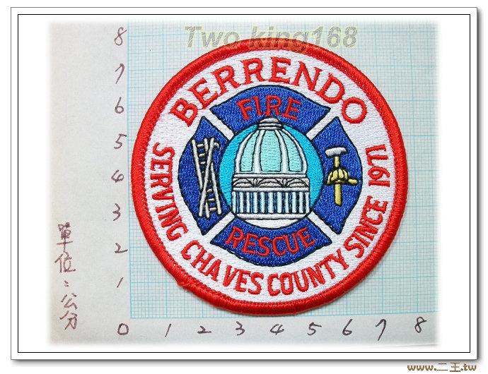 美國BERRENDO消防隊-國外81-台灣製造外銷國外臂章.數量有限值得珍藏