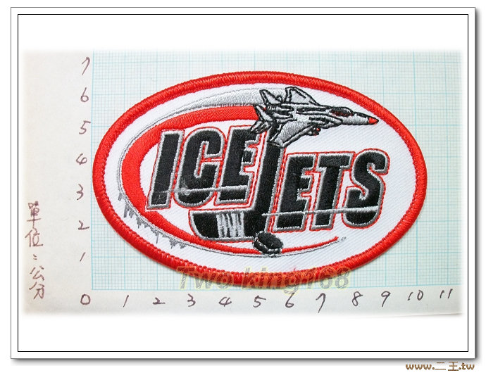 美國冰上曲棍球冰凍噴射隊(小)-國外97-台灣製造外銷國外臂章.數量有限值得珍藏