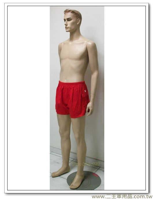 運動短褲(紅色單口袋斜紋布)-150元