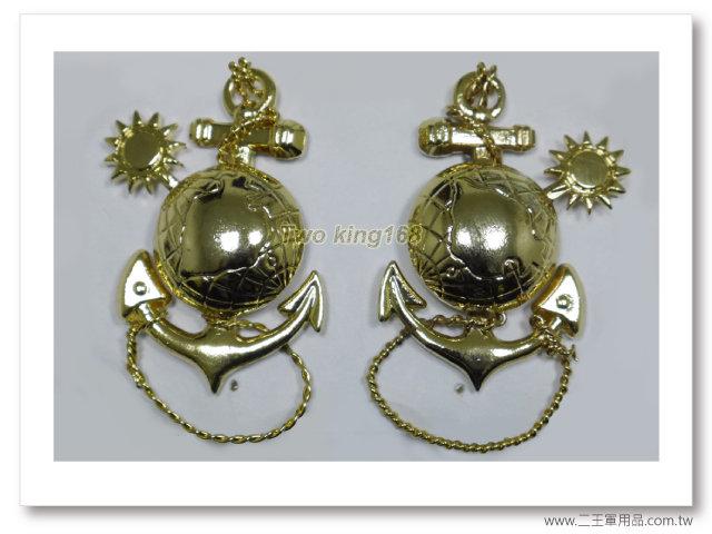海軍陸戰隊領章(軍官)(金色銅質)軍禮服領章-bn19-4-一付250元