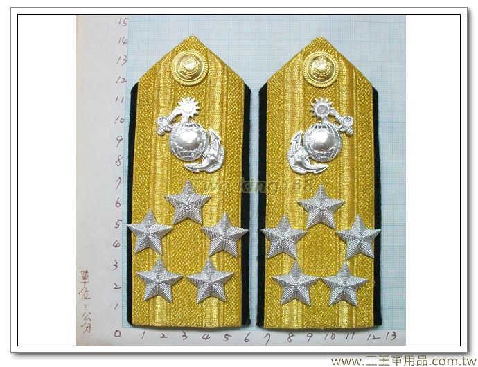 ★☆海軍陸戰隊五星上將白甲服肩章 國軍 軍裝☆海軍★ 白丙 軍常服 海軍陸戰隊