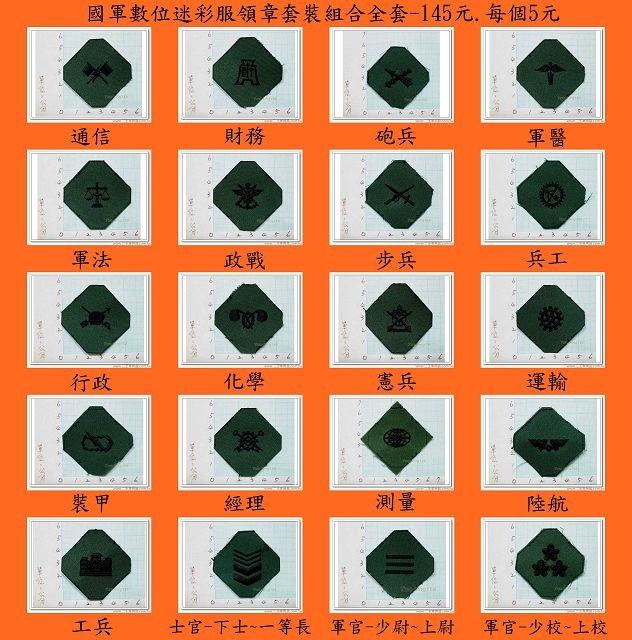 新式布領章-軍用領章-國軍數位迷彩服領章套裝組合全套-145元.每個5元