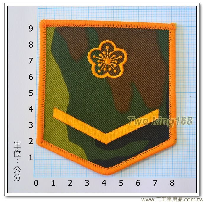 早期舊式陸軍臂章(二兵)(迷彩底黃色繡線)-一片20元-4-25-2