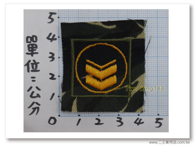 70年代早期海軍陸戰隊迷彩領章(有圓圈)一片10元-三等長