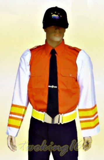 柑橘色短袖襯衫-81☆★Cosplay☆★保全/民防/義消/義警/巡守
