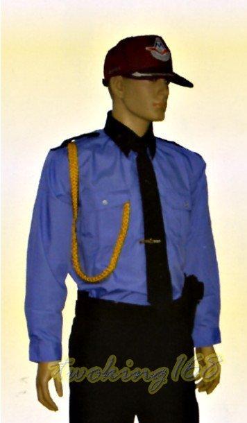 水藍長袖襯衫#12☆★Cosplay☆★保全/民防/義消/義警/巡守