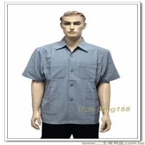 短袖中山裝(中灰色)(襯衫領)【F398】