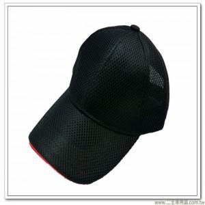 三層排汗帽(黑色前滾紅邊)  [3-9-2]