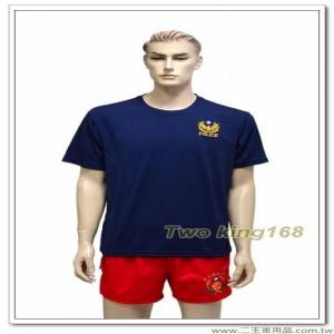 警察排汗衫NO.14(藍色圓領)(電腦刺繡)警察T恤