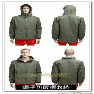 防水透氣軍綠色外套(連帽) #軟殼衣 #鯊魚皮