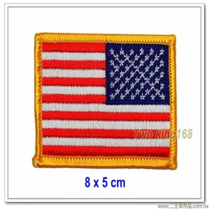 美國國旗臂章(黃框)(逆風)