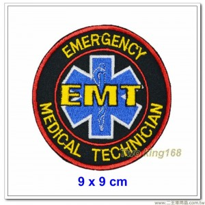 EMT臂章圓型黑底臂章 #緊急救護員【1-29-1】