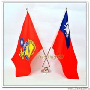 高質感雙金屬旗桿桌旗(國旗+陸戰隊旗) #雙叉高級桌上旗