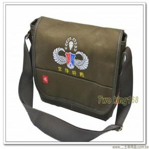 鐵漢傘徽帆布洽公袋(深卡其色)(加厚款) ★軍用書包