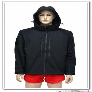 戰術型多功能防水透氣黑色外套(可拆帽) #軟殼衣 #鯊魚皮