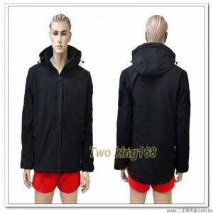 戰術型多功能防水透氣黑色外套(可拆帽) ★軟殼衣 ★鯊魚皮