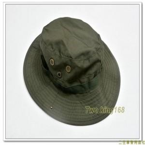 軍綠色擴邊帽(十字格紋布)(有摺帽扣)(頭圍60號)