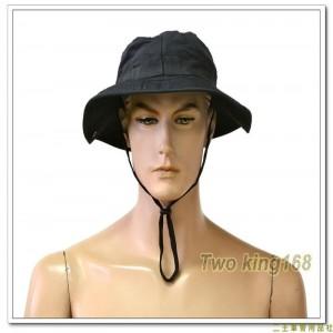 黑色擴邊帽(十字格紋布)(有摺帽扣)