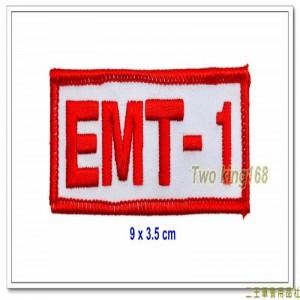 EMT-1臂章(含氈)(白底紅框紅字) ★EMT臂章 ★救護技術員臂章